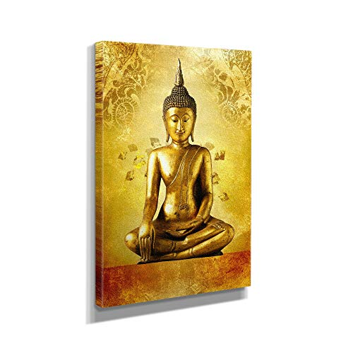 Gold Buddha Statue God Zen Canvas Art Wall Art Home Decor (12in x 18in Gallery Wrapped)