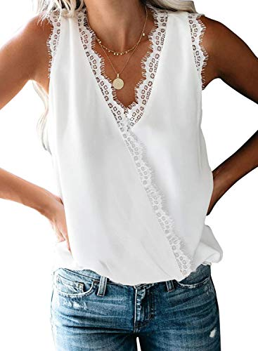 BLENCOT Women Ladies Sexy V Neck Wrap Lace Trim Tank Tops Casual Loose Sleeveless Blouse Shirts Work White S