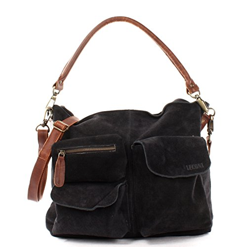 LECONI Schultertasche Ledertasche für Damen echtes Leder Natur großer Shopper Lederhandtasche für DIN A4 Damentasche Frauen Handtasche Veloursleder Wildleder 41x32x10cm anthrazit LE0039-V