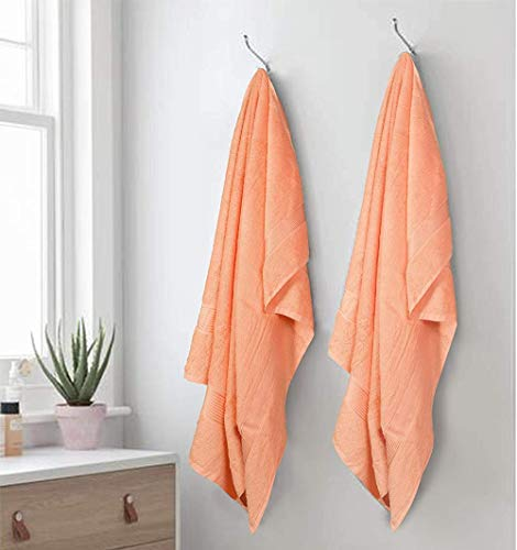 Juego de 2 toallas de baño de algodón de gran tamaño de 100 x 150 cm, toallas de baño grandes, ultra absorbentes, compactas, de secado rápido y ligera, ideal para gimnasio, viajes y campamento