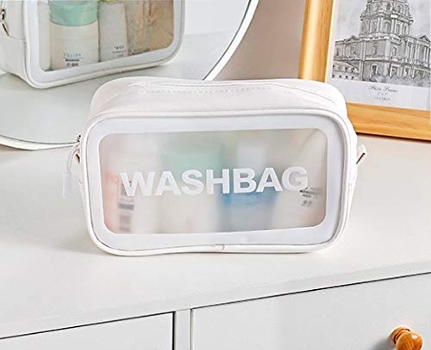 不定探す短命新しい女性の多機能トラベルポータブル化粧品袋化粧ケースポーチトイレタリーオーガナイザーストレージ (Color : White)