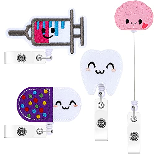 4 Pieces Felt Nurse Badge Reels, Retractable ID Badge Holder Cute Nursing Name Badge Reel with Alligator Clip and 25 Inch Retractable Cord for Nurse Doctor Teacher Student, 4 Styles