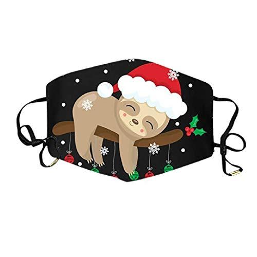 Mundschutz mit Motiv Weihnachten Faultier Sloth Lama Cartoon 3D Lustig Motive Mund Nasenschutz Waschbar Damen Herren Kinder Jungen Mädchen Christmas Bunt Multifunktionstuch Bandana Halstuch (5,M)