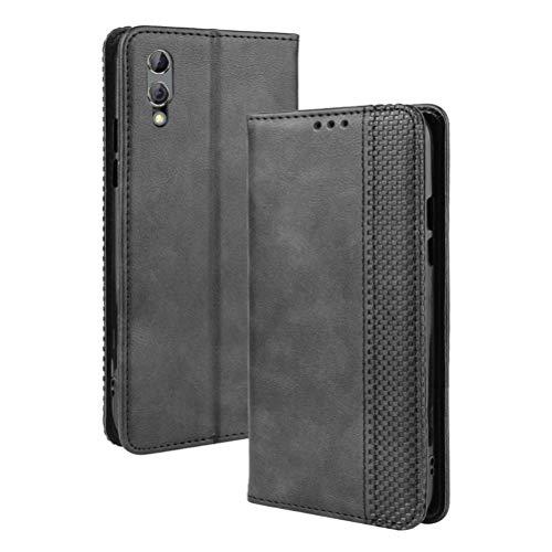 LUSHENG Xiaomi Black Shark 2 Pro Hülle, Superdünne Brieftasche Ledertasche mit Kreditkartenfach Standfunktion TPU-Innenschale für Xiaomi Black Shark 2 Pro - Schwarz