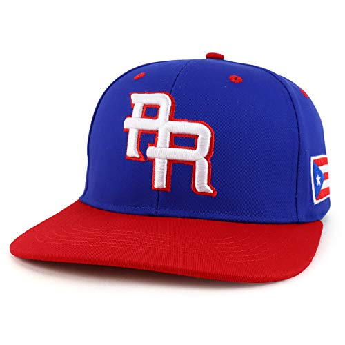 Trendy Apparel Shop PR 3D Embroidered Flatbill Snapback Cap with Puerto Rico Flag - Royal RED