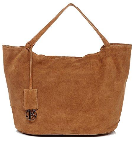 BACCINI Handtasche mit Langen Henkeln echt Wildleder Selma groß Henkeltasche Schultertasche Ledertasche Damen braun