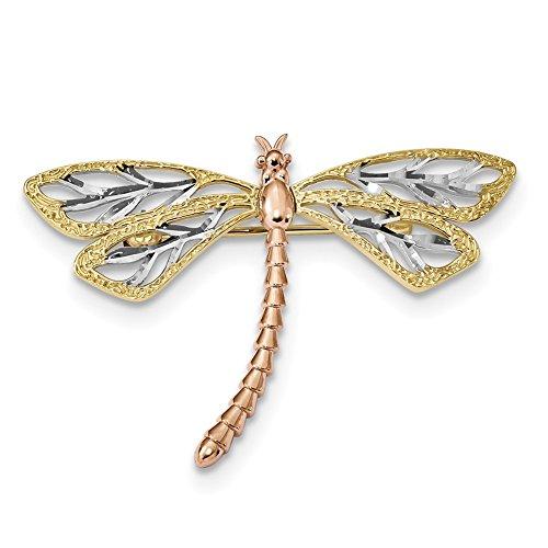 Lex & Lu 14 K amarillo y oro rosa con broche de libélula de rodio pulido y satinado