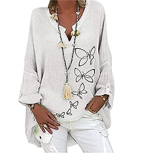 Blusa de manga larga para mujer informal, de algodón y poliéster, cuello en V, con estampado de flores,...