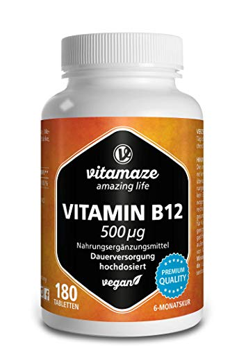 Vitamin B12 hochdosiert Methylcobalamin 500 mcg 180 Tabletten vegan 6 Monatsvorrat Qualitätsprodukt-Made-in-Germany ohne Magnesiumstearat
