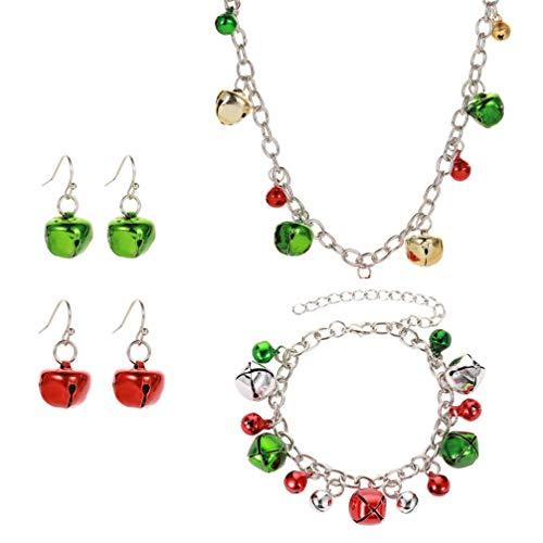 Holibanna Weihnachtsschmuck Set Ohrring Halskette Armband mit dekorativen Glocken für Frau Mädchen Dame