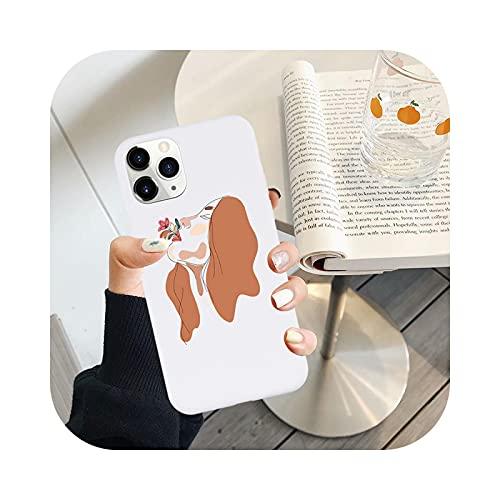 Carcasa para iPhone 11, diseño abstracto de línea de pintura suave para iPhone 11Pro Max 7 8 Plus silicona blanca para iPhone X XR XS 6S Plus SE2-1 para iPhone 6 6S