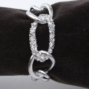 Lobjet Platinum Chain Napkin Rings With White Swarovski Crystals Link Set Of 4