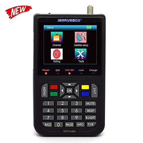 KKmoon V9 Digital Satellite Finder Digital Satellite Signal Finder Meter SAT-Finder con Display LCD da 3,5 pollici,Lingua OSD,Automatica PAL/NTSC(Nero)