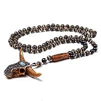 Natürliche Zebra Stein Halskette Männer Antike Messing Bronze Blatt Form Anhänger Grüner Charme Halskette (Metal Color : Dzi Agate)