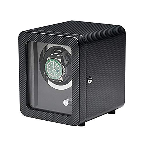 Caja de enrollamiento de Spinner Reloj Winders - Coctelera de reloj de fibra de carbono negro con marco de puerta Reloj mecánico Dispositivo de bobinado automático Motor silencioso Reloj de re