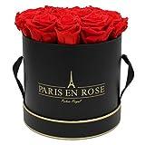 PARIS EN ROSE boîte de Roses Palais Royal Bijou | Noir-Or flowerbox avec des Roses Rouges Infinity | Boîte de Fleurs avec 13-15 Fleurs conservées