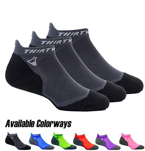 Thirty48 Ultralight Athletic Running Socks for Men and Women with Seamless Toe, Moisture Wicking, Cushion Padding (Small - Women 5-6.5 // Men 6-7.5, [3 Pairs] Black/Gray)