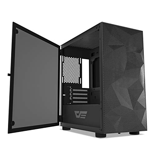 darkFlash DLM21 MESH Micro ATX Mini ITX Tower MicroATX Black Computer Case with Door Opening Tempered Glass Side Panel & Mesh Front Panel