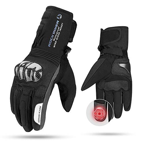 Guantes Moto Invierno para Hombre Mujer, Guantes de Moto Invierno Impermeables con Proteccion Carbono Pantalla Tactil Dedo Completo para Invierno