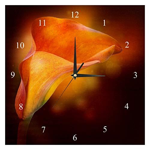 BestIdeas Reloj de pared Arum Llily funciona con pilas para dormitorio, salón, cocina, oficina, decoración del hogar, silencioso y sin pinchazos
