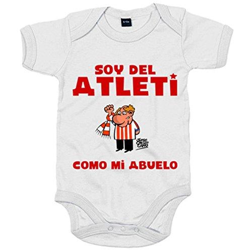 Body bebé Atlético de Madrid soy del atleti como mi abuelo - Blanco, 6-12 meses