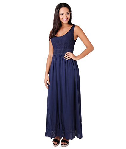 KRISP Damen Bodenlanges Kleid mit Lochmuster, Marineblau, M/L, 7091-NVY-ML