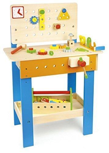 LEOMARK Conjunto De Madera De Carpintero Banco De Trabajo Herramientas Carpintería Para Niños y Niñas