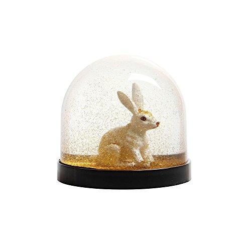 Witzige Schüttelkugel Schneekugel hochwertig mit Hase Kaninchen und Goldenem Glitter 8 x Ø 8.5 cm