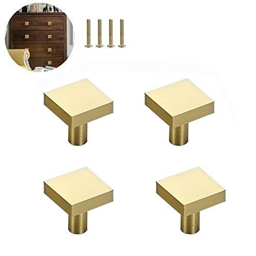 4 szt. kwadratowe gałki z litego mosiądzu, pojedynczy otwór małe gałki uchwyt, uchwyty do drzwi kuchennych szuflad meble akcesoria do szafki, biurka, szuflad, złota (20 x 20 mm)