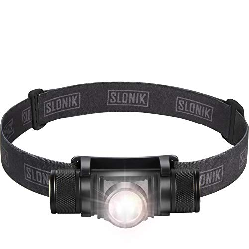 SLONIK 500 Lumen Rechargeable LED Headlamp w/ 2200 mAh Battery  Durable Waterproof and Dustproof Headlight  Xtreme Bright 300 ft Beam  Camping and Hiking Gear