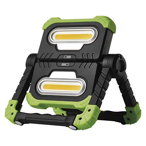 EMOS faltbarer LED Baustrahler, 360° drehbare Arbeitsleuchte mit Bügel, super heller 2000 lm tragbarer Akku Arbeitsstrahler, USB wiederaufladbar 8000 mAh, 70 m Leuchtweite, Grün/Schwarz, P4536