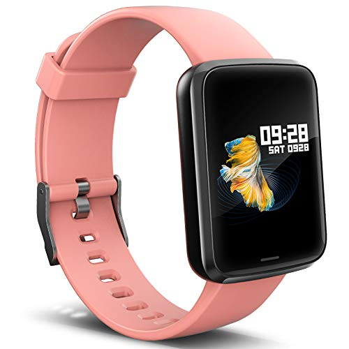 Lintelek Montre Connectée Intelligente, Pression Artérielle Cardio Fréquence Smartwatch Bracelet Connecté Ecran Couleur Montre Sport Etanche Podomètre Chronomètre Cadeau pour Homme Femme Android iOS