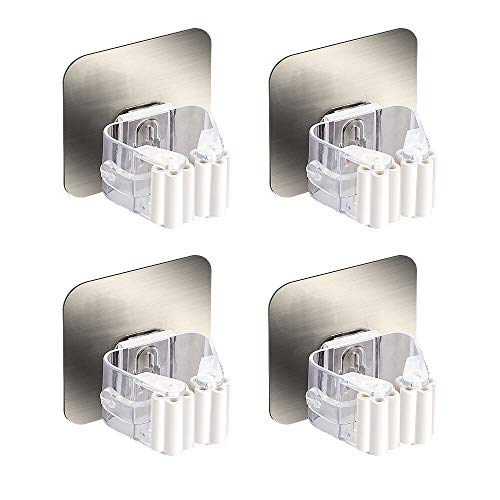 HanleyDepot Mop and Broom Holder Wall Mount Self Adhesive for Your Home & Kitchen Organization and Storage (4 Pack)