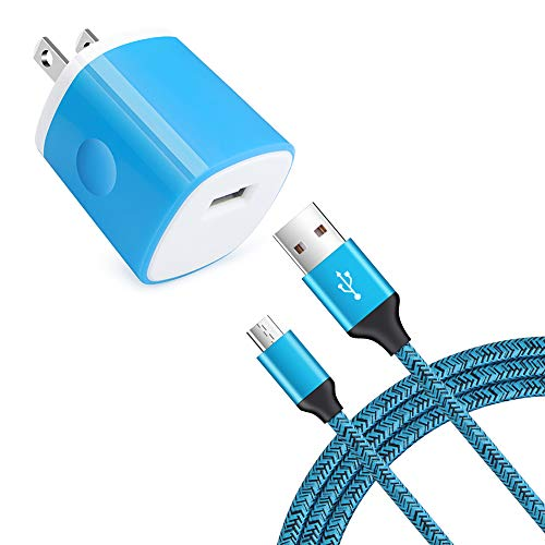 Single Port Wall Charger with USB Cord for Android Phone Compatible for Samsung Galaxy S7/S6 Edge /A10/J7 Prime / J7 v /J7 Sky Pro, Moto E6/E5 Plus/E5 Play/G5S Plus/E4/X/G, LG K10/K20/K30/V10/G3/G2/Q6