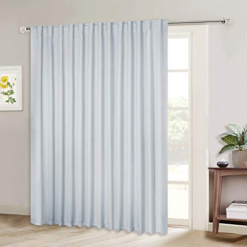 NICETOWN Sliding Door Curtain Window Treatment, Energy Smart Thermal Insulated Extra Wide Solid Room Darkening Curtains/Drapes for Patio Door (Greyish White, W100 x L84, 1 PC)