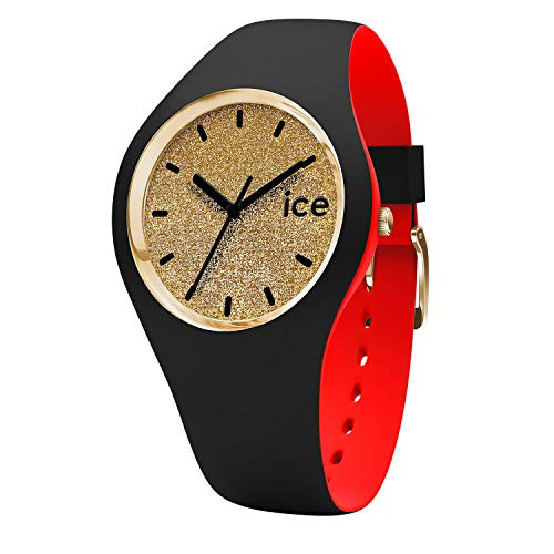 Ice-Watch - ICE loulou Gold Glitter - Schwarze Damenuhr mit Silikonarmband - 007228 (Small)