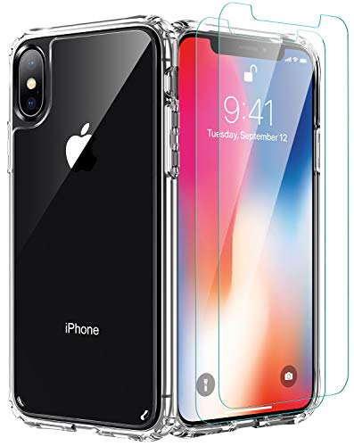 iPhone Xs Max Case,[Airbag Series] with [2 x Tempered Glass Screen Protector] [ Military Grade ] | 15Ft. Drop Tested [Scratch-Resistant] | Wireless Charging | for Apple iPhone Xs Max 5.5 Inc- Clear