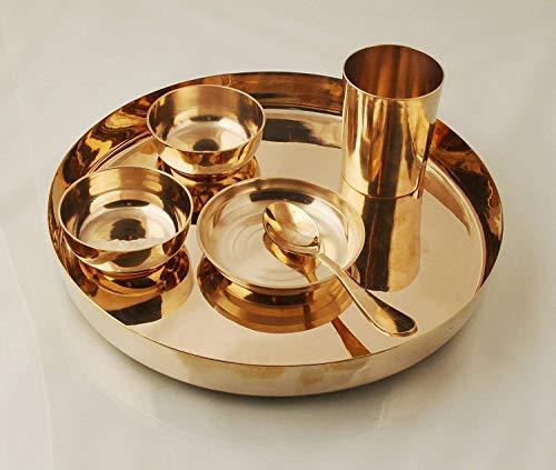 Juego de 6 platos de bronce Thali, color dorado