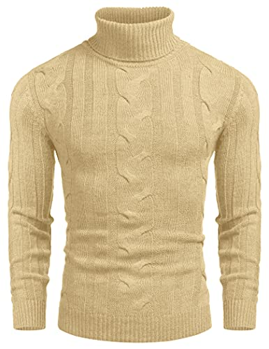 COOFANDY Jersey de punto con cuello de tortuga, ajustado, informal, con cable, para hombre, caqui, XXL