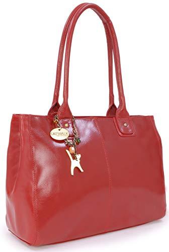 Catwalk Collection Handbags - Vera Pelle - Grande Borsa a Spalla/Borse a Mano/Tote - Con Ciondolo a Forma di Gatto - Kensington - ROSSO