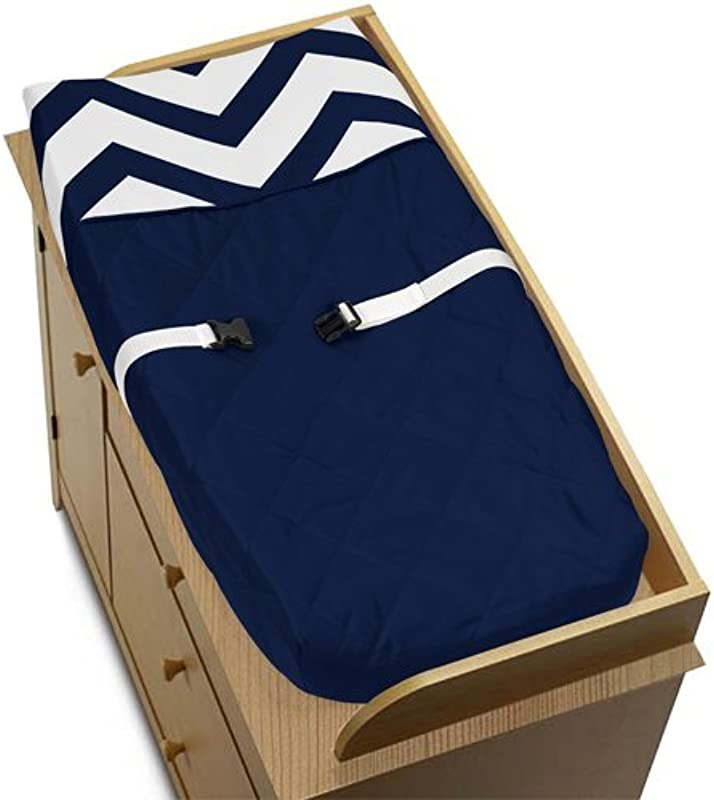 Sweet Jojo Designs Zig Zag Navy And White Chevron Baby Changing Pad Cover
