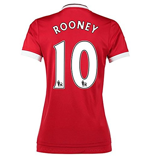 Rooney #10 Manchester United Home Soccer Jersey 2015 Women. (M) Red