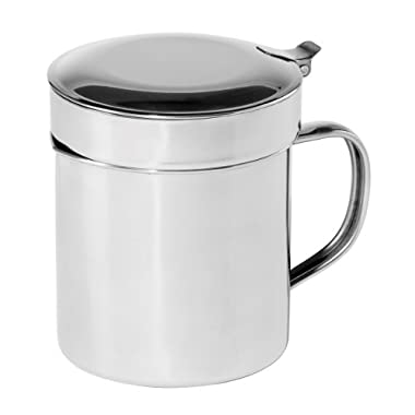 Oggi 7324 Stainless Steel Grease Can with Hinged Lid and Removable Strainer - 1 Quart