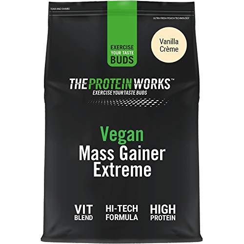 THE PROTEIN WORKS Mass Gainer Vegano Extreme | 100% A Base De Plantas | Alto En Calorías Para El Aumento De Masa | | Crema De Vainilla, 1000 Gramo