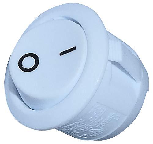 AERZETIX: Interruptor conmutador basculantes de boton SPST ON-OFF 6A/250V, 2 posiciones, Blanco C10763