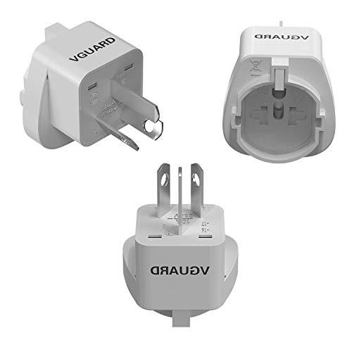 VGUARD [3 Pack UK Travel Adapter, Adattatore Universale da Viaggio Adattatore 3 Pin Svizzera/Italia, 2 Pin UE/USA/Cina/Giappone/Australia/Canada in Cina/Australia Presa a 3 Pin –Bianco