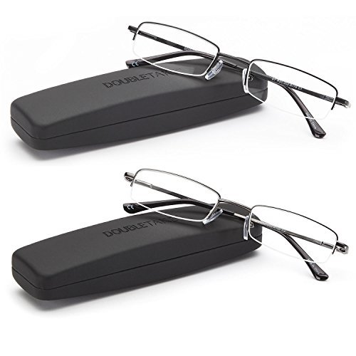 DOUBLETAKE Reading Glasses - 2 Pairs Compact Case Semi Rimless Readers - 2.25