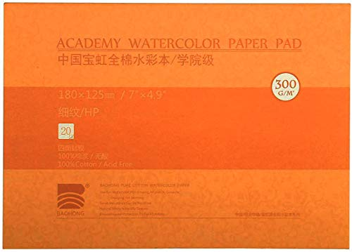 MEEDEN 5X7' Watercolor Pad, 20 Sheets (140lb/300gsm), 100% Cotton, Hot Press, Acid-Free Paper, Art Sketchbook Pad for Painting & Drawing, Wet, Mixed Media