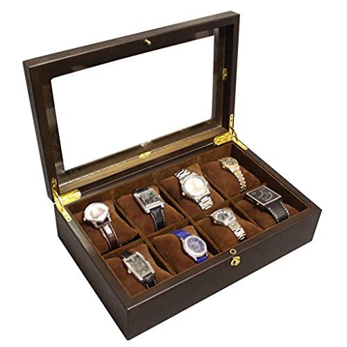 Caja de reloj de madera 8 ranuras Caja de reloj Cajas de almacenamiento de exhibición de joyería Organizador de vitrina con tapa de vidrio y 8 almohadas de almacenamiento de extracción para hombres y