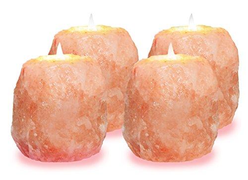Himalayan Glow Multipurpose Himalayan salt candle holder, Set of 4 Pink, 4 Piece